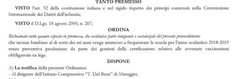 alfredo longo sindaco maruggio obbligo vaccinale