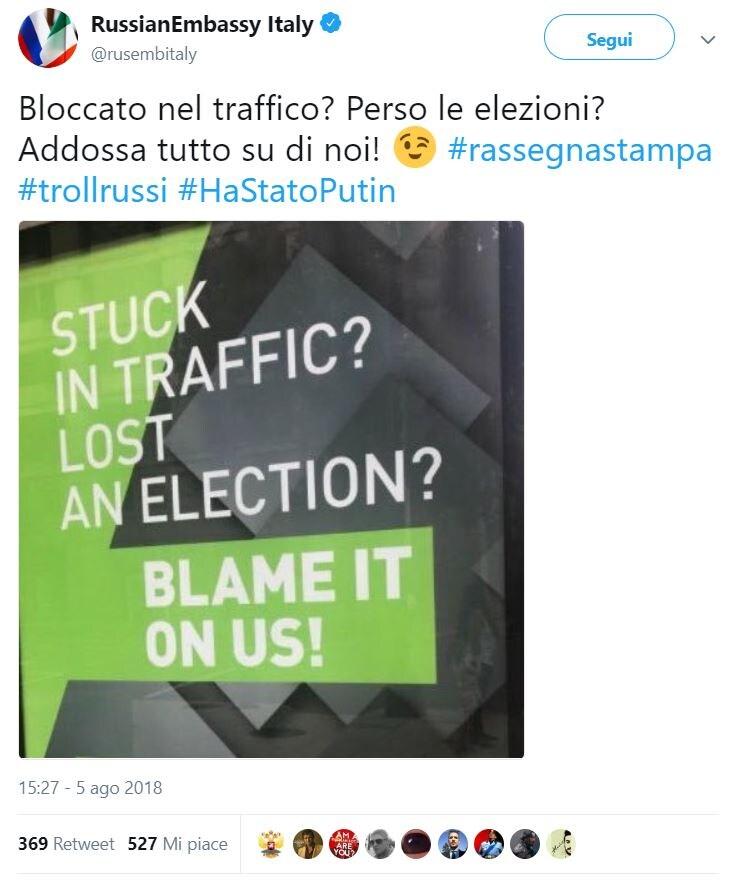 ambasciata russa troll russi