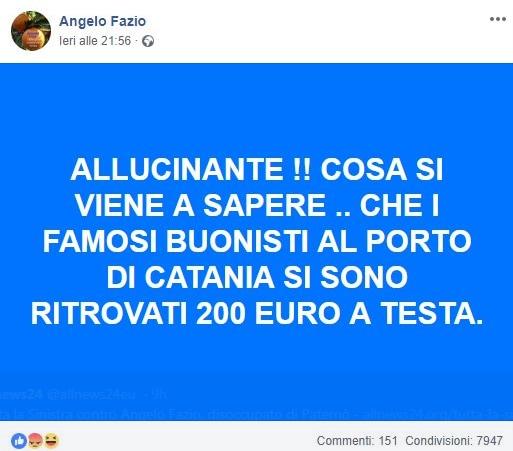 angelo fazio fake news diciotti manifestanti pagati - 1
