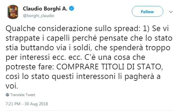 claudio borghi spread bpt bot rendimento - 2