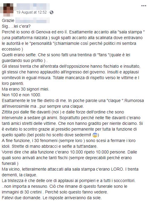 funerali genova morandi fischi claque - 2