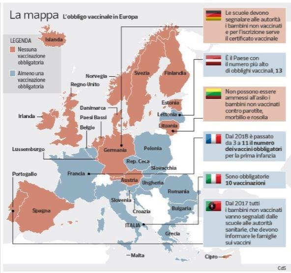 mappa obbligo vaccinale europa