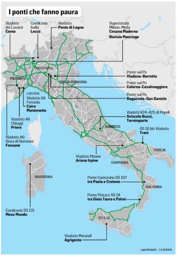 mappa ponti a rischio italia