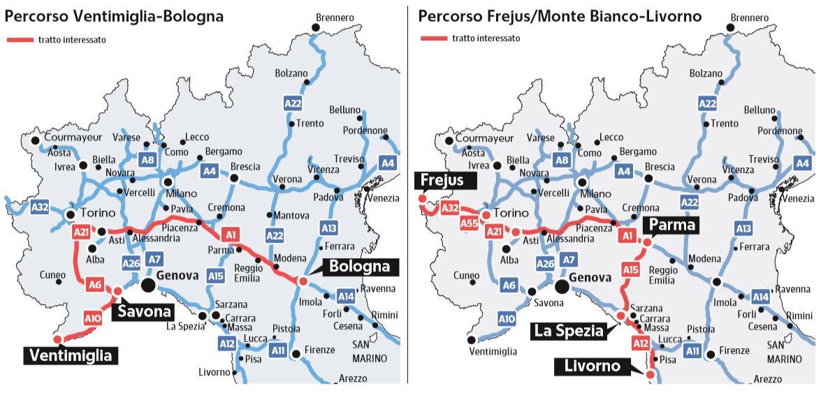 percorso ventimiglia-bologna percorso frejus-livorno