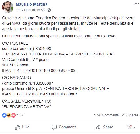 raccolta fondi pd genova amatrice complotto - 7