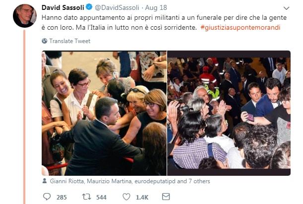 sassoli funerali genova morandi fischi claque - 1
