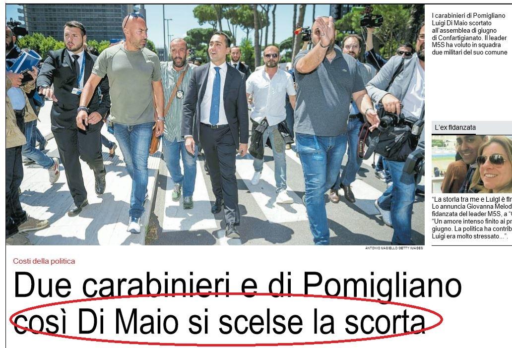 scorta di maio carabinieri pomigliano