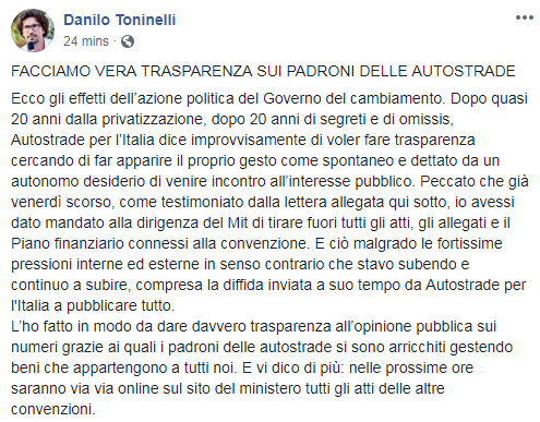 trasparenza toninelli mit autostrade concessioni aspi - 1