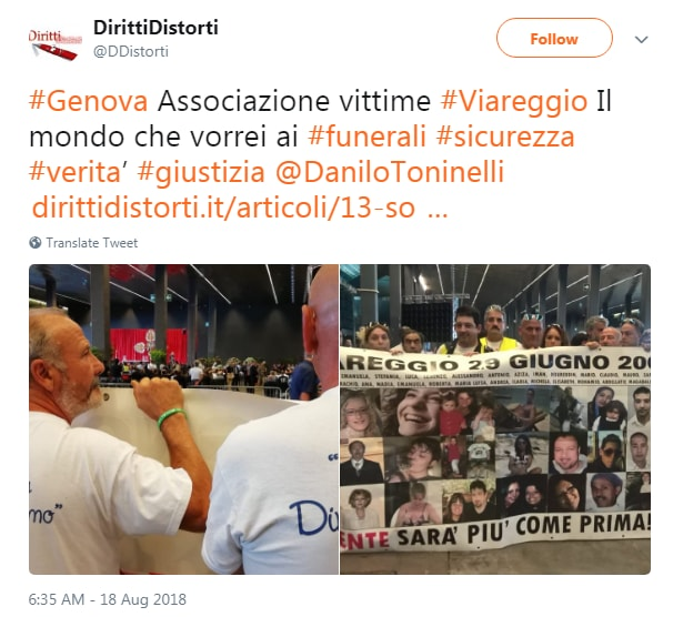 vittime viareggio funerali genova morandi fischi claque - 2
