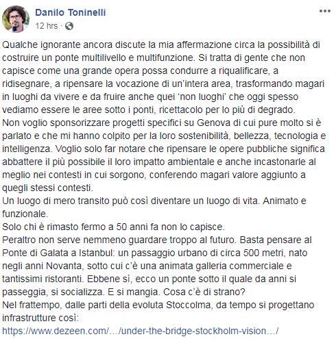 Crollo Genova, Toninelli: ricostruzione ponte dopo dissequestro