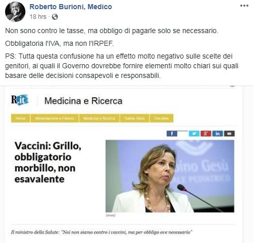 Il commento del dottor Burioni sull'ennesima uscita della ministra