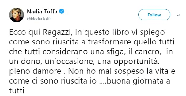 L'ultimo post di Nadia Toffa