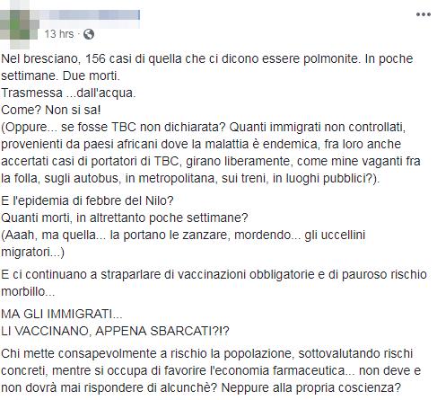 polmonite brescia immigrati complotto - 2