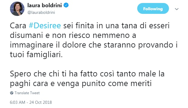 desiree mariottini uccisa commenti boldrini - 2