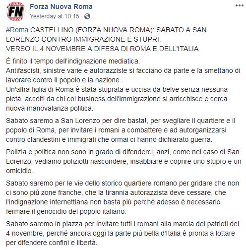 forza nuova desiree mariottini san lorenzo - 1