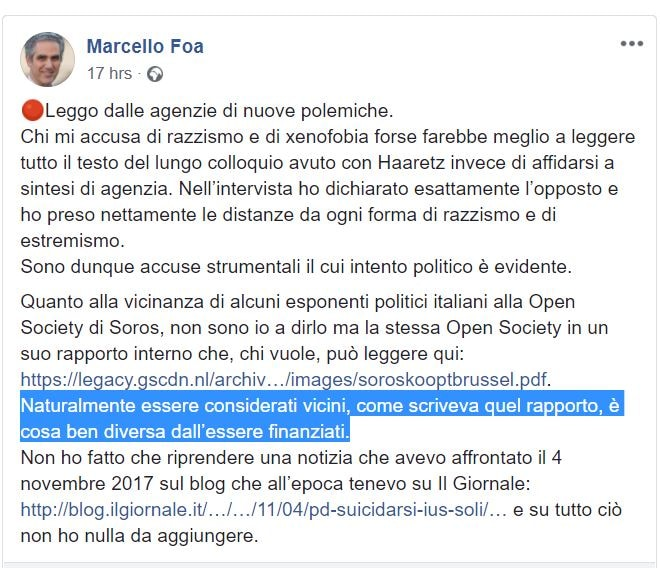 marcello foa pd soros