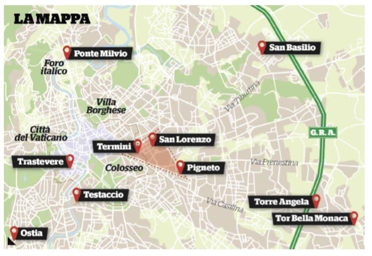 roma luoghi spaccio telecamere spente