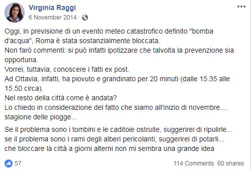 virginia raggi bomba d'acqua cascate metro roma - 1