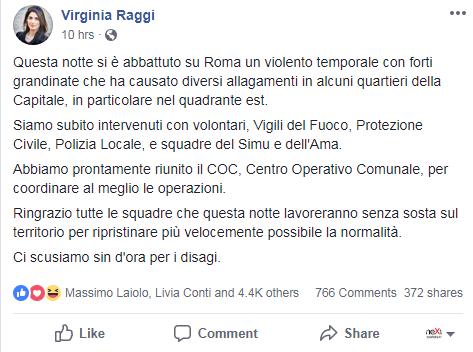 virginia raggi bomba d'acqua cascate metro roma - 2