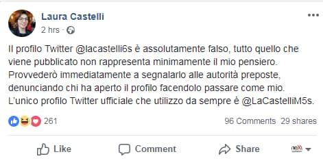 laura castelli denuncia fake twitter - 1