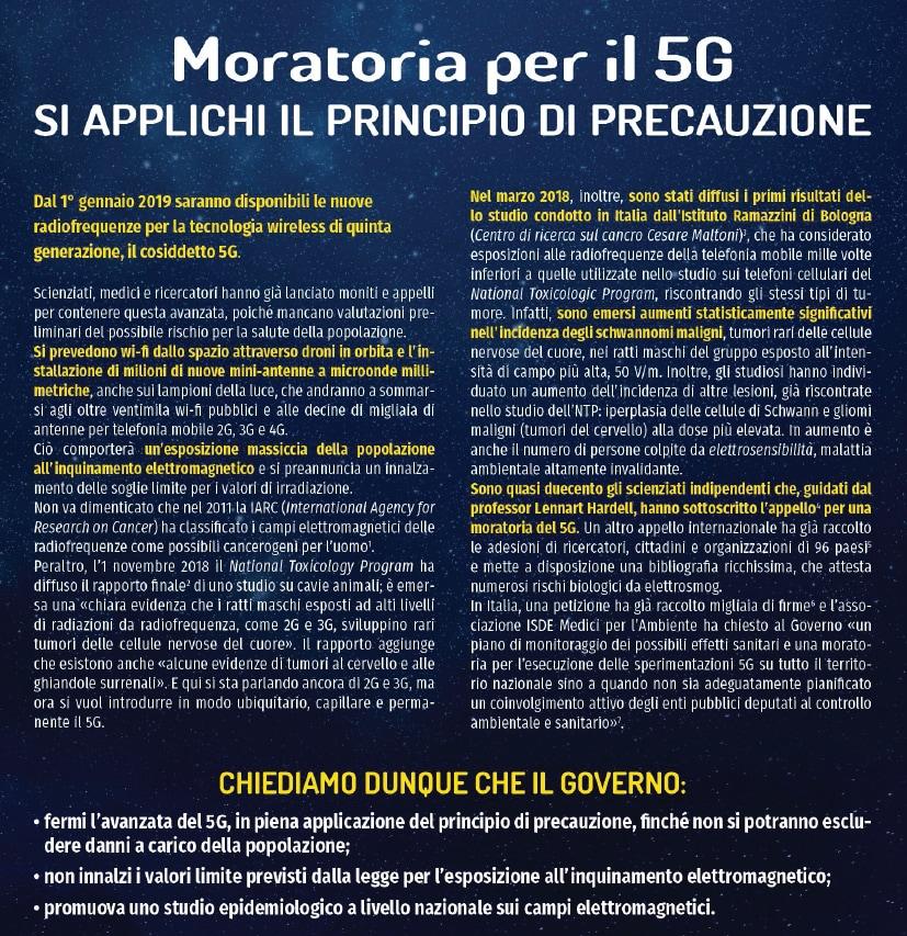 Il governo fermi l'avanzata del 5G»