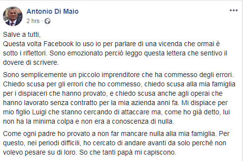 antonio di maio video lettera - 1