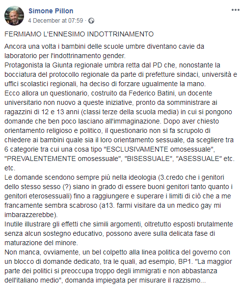 questionario gender università di perugia simone pillon - 2