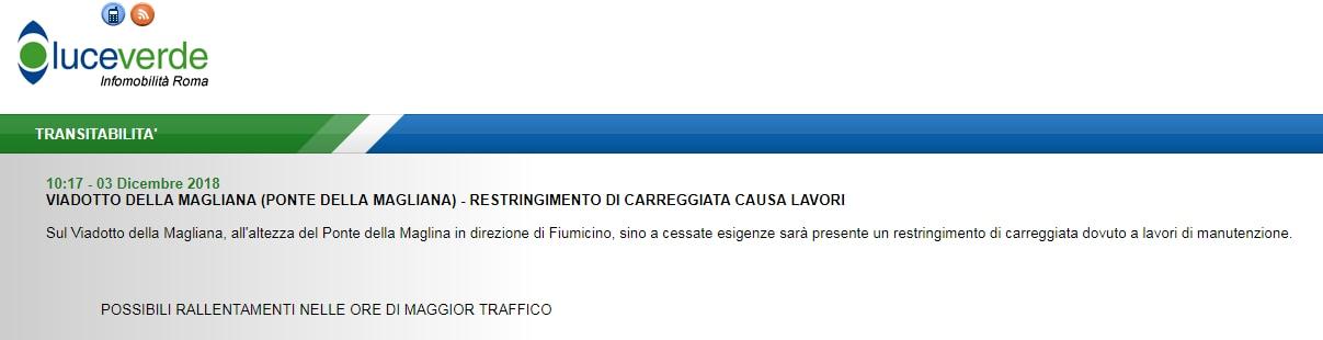 viadotto magliana lavori restringimento - 1