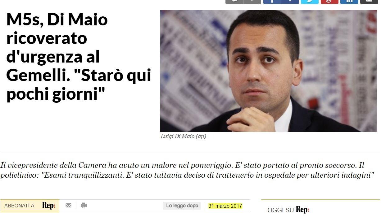 DI MAIO RICOVERATO GEMELLI REPUBBLICA