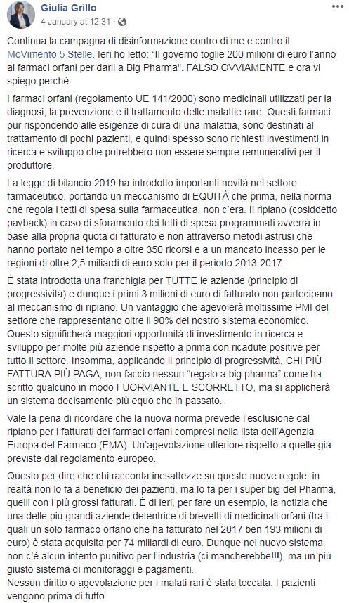 farmaci orfani legge bilancio 2019 giulia grillo - 1