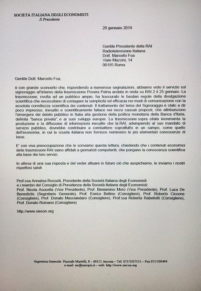 lettera società italiana economisti