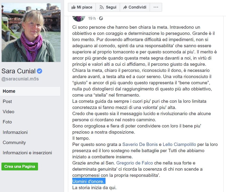 sara cunial uomini d'onore m5s