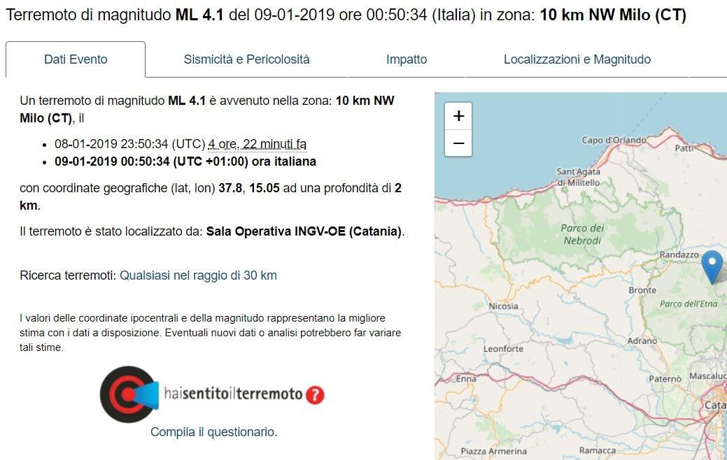 terremoto milo catania