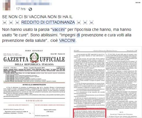 decadenza reddito di cittadinanza vaccinazioni obbligatorie - 2