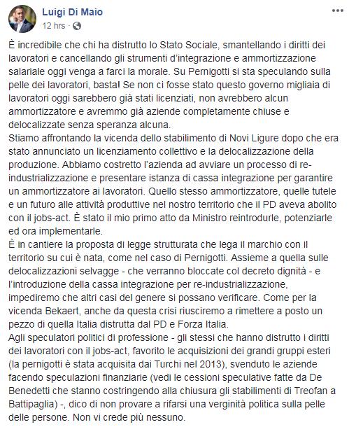di maio pernigotti crisi sindacati lavoratori licenziati - 1