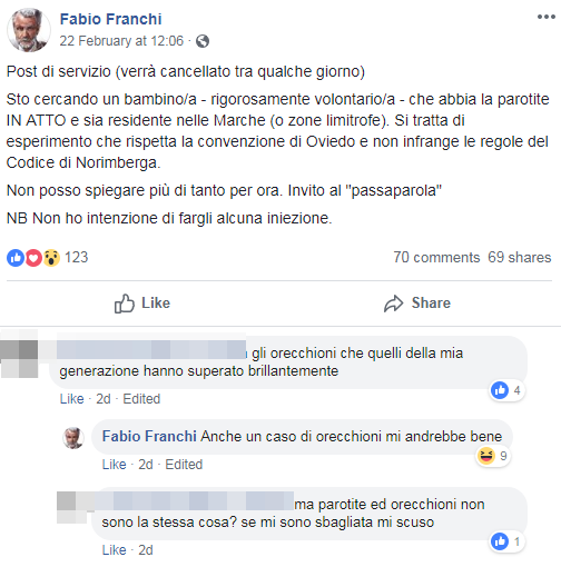 fabio franchi sperimentazione parotite orecchioni free vax - 1