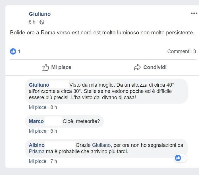 avvistamento bolide roma 4
