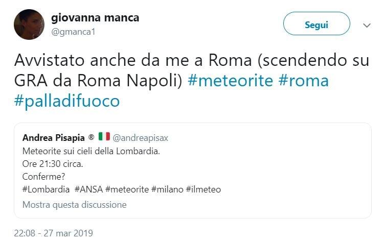 """""""Una palla di fuoco"""": l'avvistamento del """"bolide"""" sui cieli dell'Italia"""