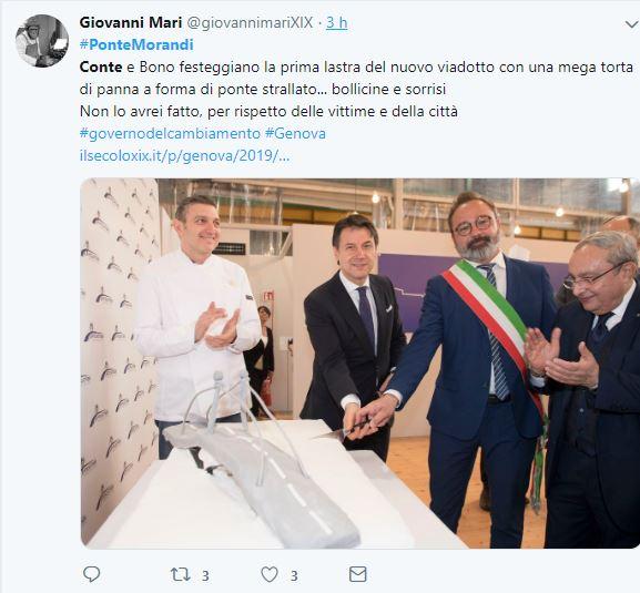 Perché Giuseppe Conte taglia una torta a forma di ponte Morandi?