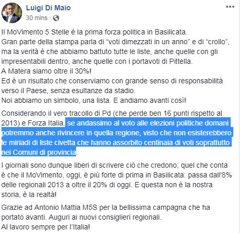 di maio m5s sconfitta basilicata - 1