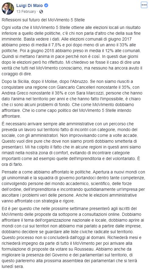 di maio m5s sconfitta basilicata - 2