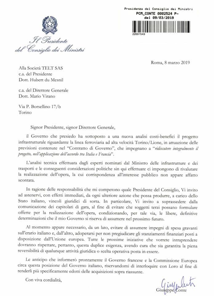 lettera governo telt