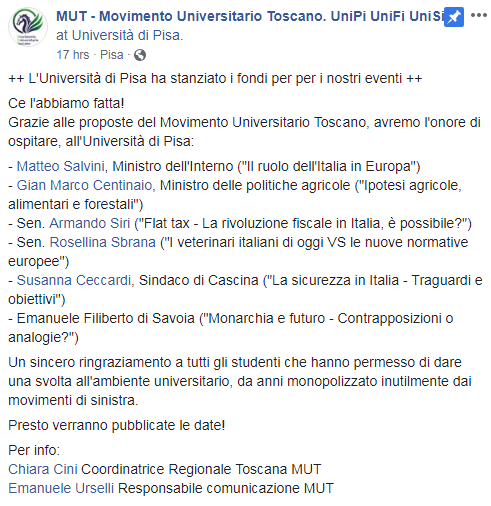 mut pisa conferenze lega soldi università - 4