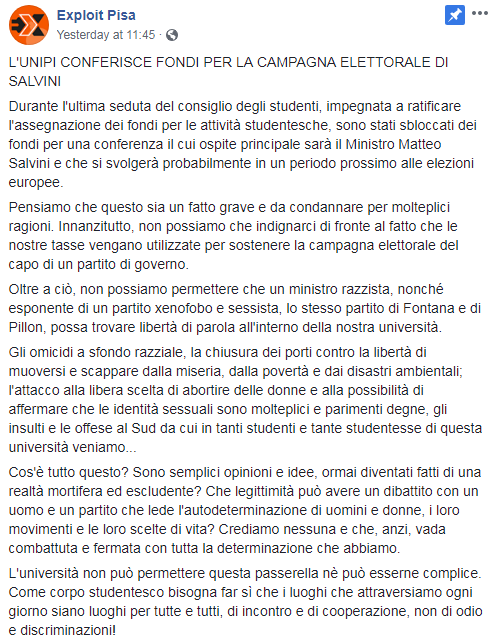 mut pisa conferenze lega soldi università - 6