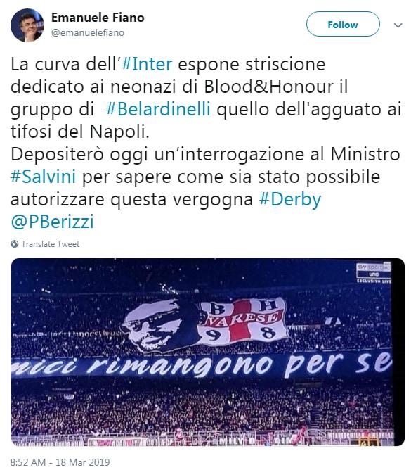 salvini derby milan inter striscione belardinelli - 3