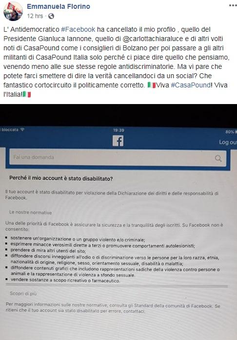 casa pound iannone bannato facebook - 3