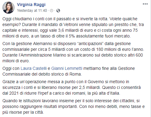 debito roma raggi governo castelli - 1