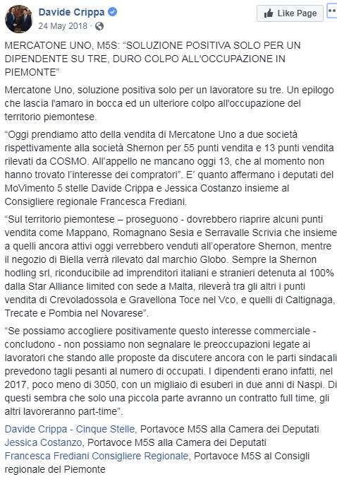 di maio mise mercatone uno crisi shernon holding - 1
