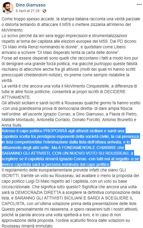 di maio statuto democrazia diretta coerenza scelta candidati - 4