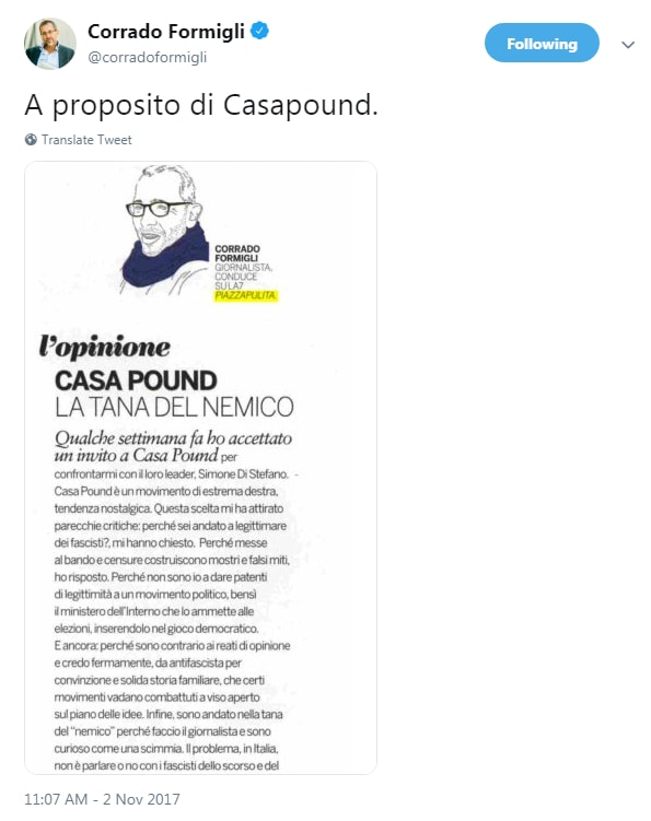 formigli piazzapulita rom italiani casapound - 2